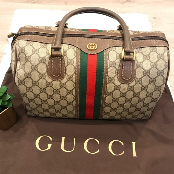 4f1f7676d Gucci Handbags - Authentic Vintage Gucci Web Monogram Boston Bag